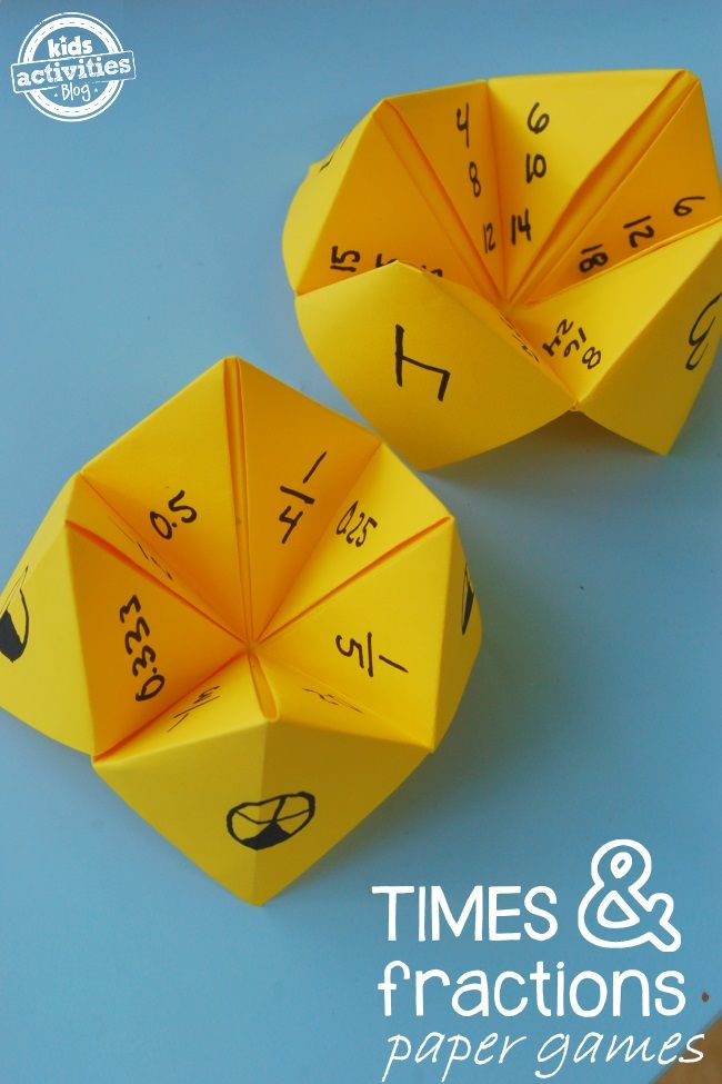 Paper Math Games: Fractions and Multiplication – Kids Activities Blog