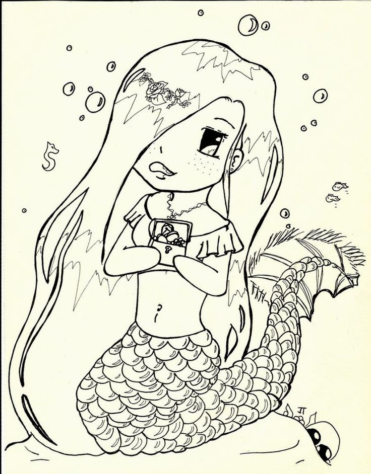 Cute Mermaid Coloring Pages Coloring Pages Pinterest