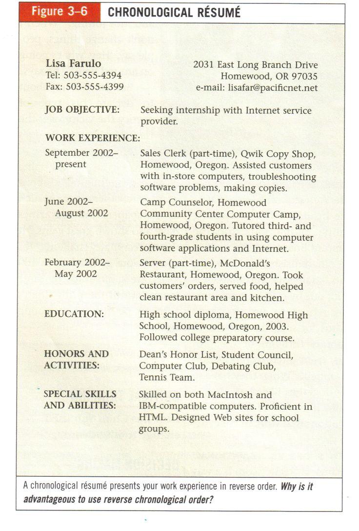 Sample Chronological Resume Career Development Teaching