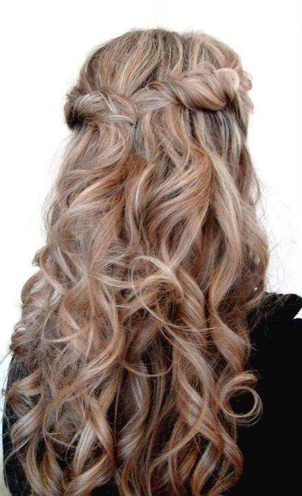 Half Updo Loose Beachy Curls Bridal Hair Bridesmaid