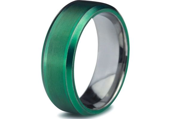 Green Tungsten RingGreen Men Tungsten RingsGreen Wedding