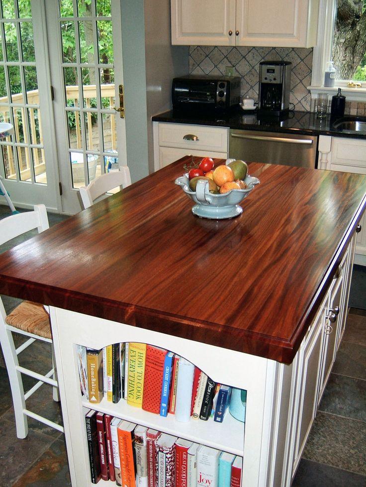 Custom solid wood edge grain African Mahogany island top