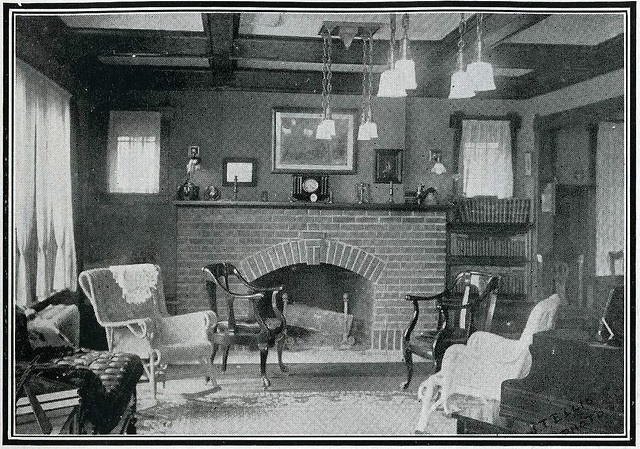 Bungalow Living Room Willow Furniture Brick Fireplace