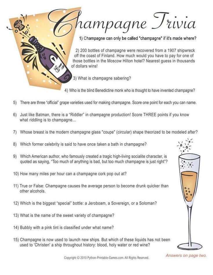 New Year's Eve Champagne Trivia Game, 6.95 New Year's