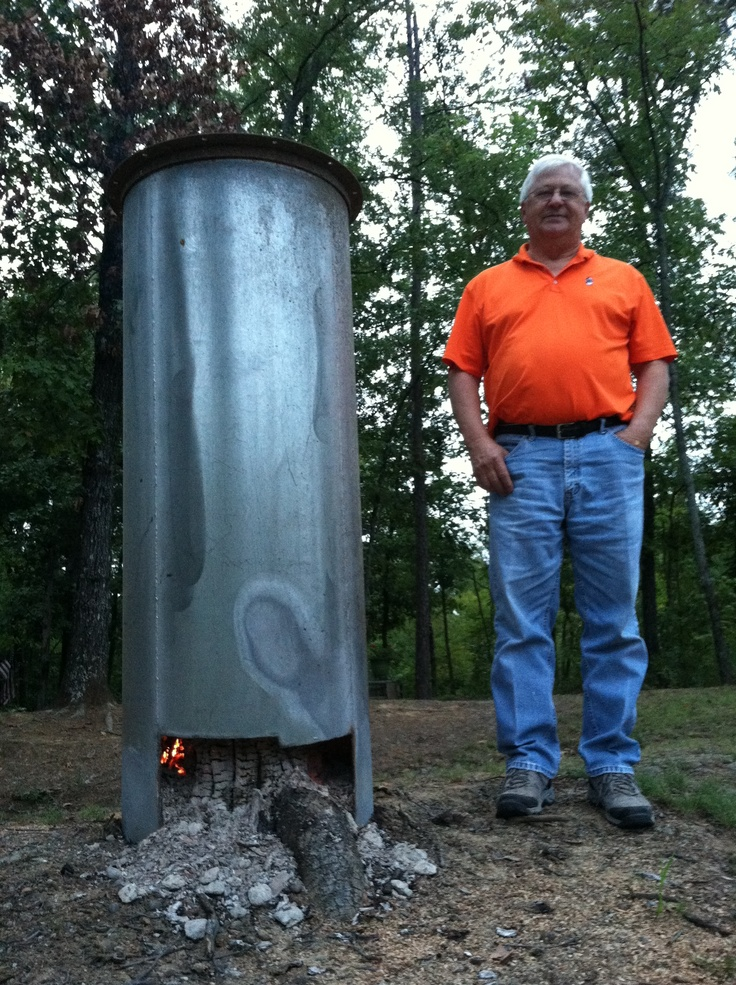 Husband don made his own stump burner stainless steel