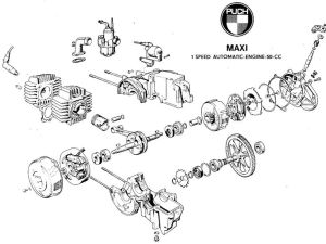 Handy diagram of the E50 Puch engine | MOPEDS • Lil'Chopz • | Pinterest | The o'jays and Engine