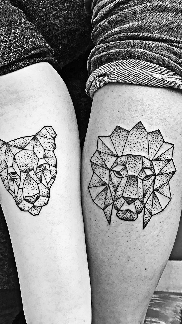 Geometric lion and lioness as couple tattoo. I chose the