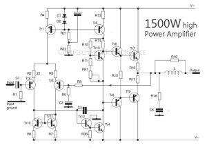 1500 Watt high power amplifier  Amp Circuit Diagram