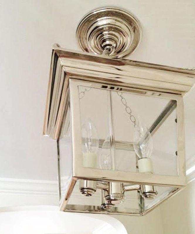 Cornice Semi Flush Ceiling Lantern Polished Nickel