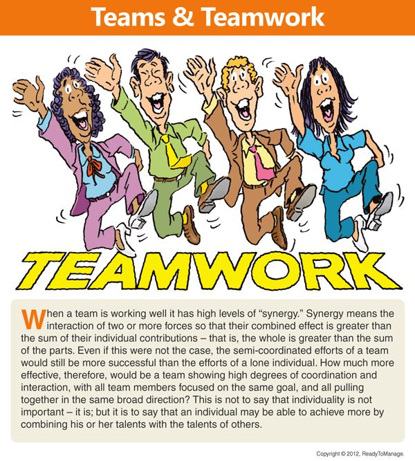 A teamwork including an overview/summary of