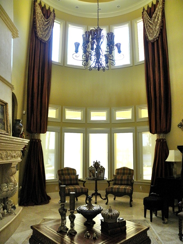 Two Story Elegant Drapes With Drapery Swags Mounted On 9