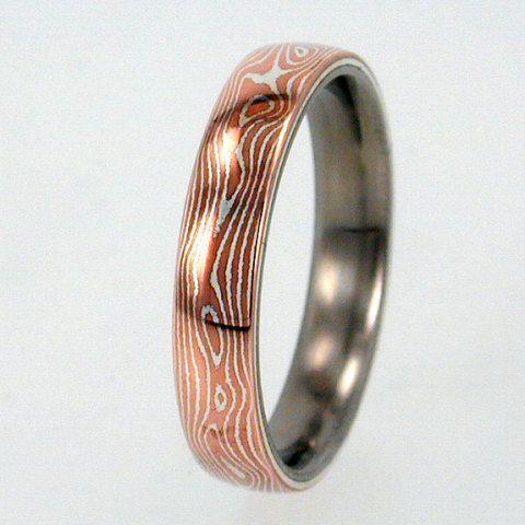 Mokume Gane Inlay Mens Or Womens Titanium Ring Wedding