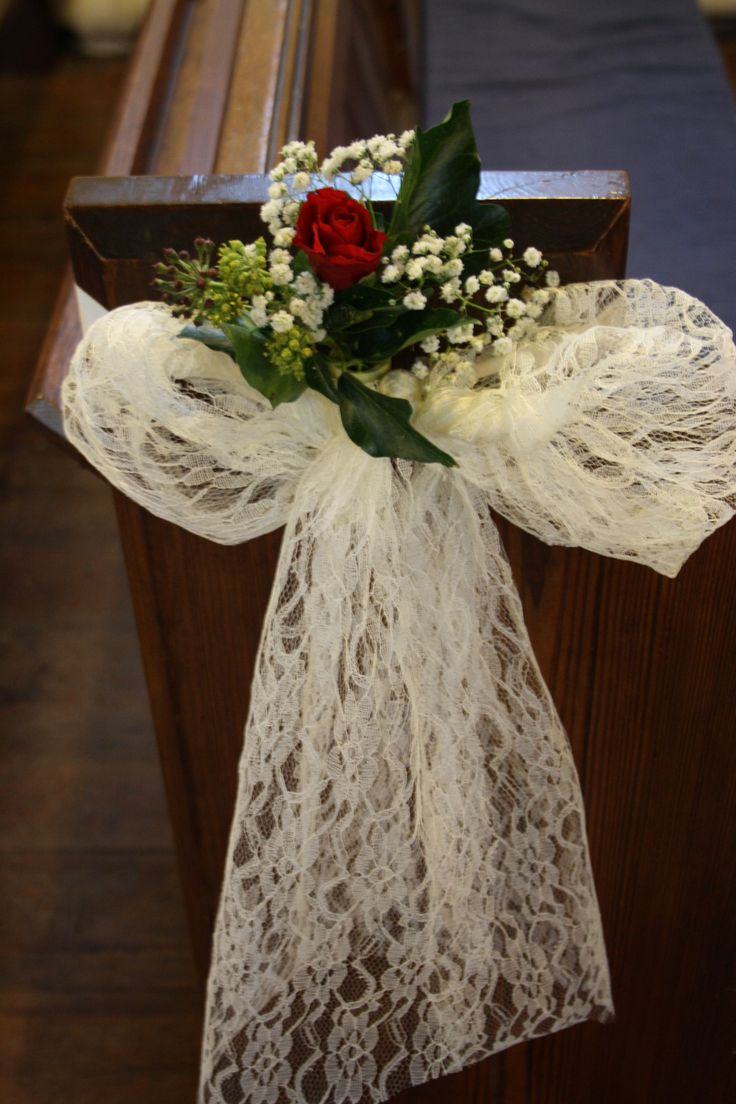 Winter Wedding, Church Pew end arrangement. Red rose, ivy