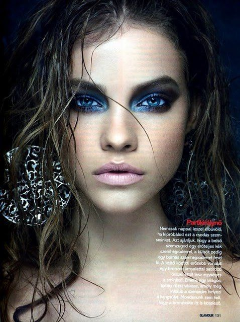 Amazing blue smokey eye-love this intense look for a photo shoot…the wet strin