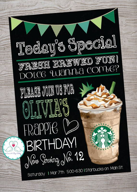 Cafe Coffee Shop Inspired Birthday Party Invitation