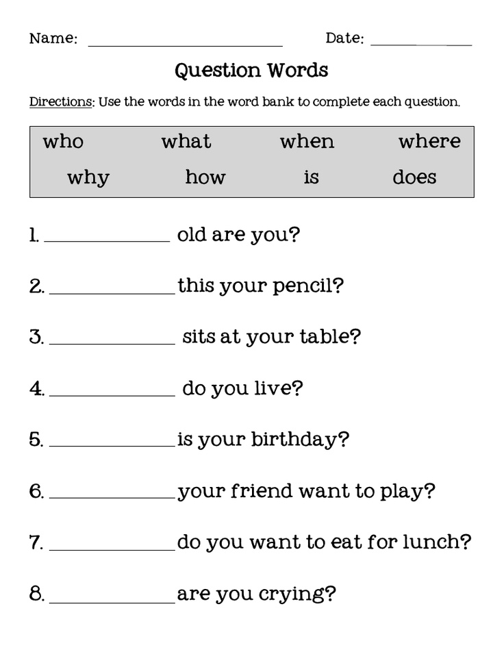 Question Words.pdf ELA Pinterest
