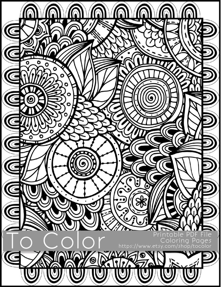 Printable Coloring Pages for Adults, All Over Large Doodle