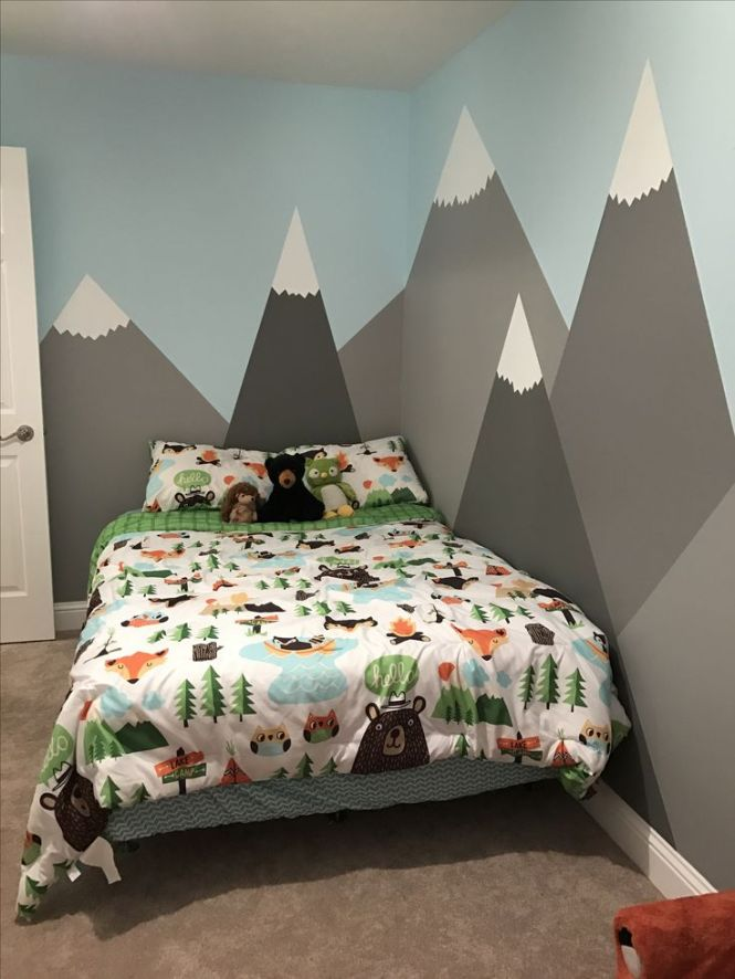My Son Kyler S Room Via Ktgardner Mountains Painted On The Walls For A Woodland
