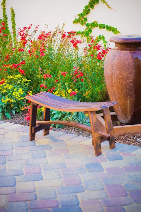 Wine Barrel Bench Gardens Stains And Garden Bench Seat