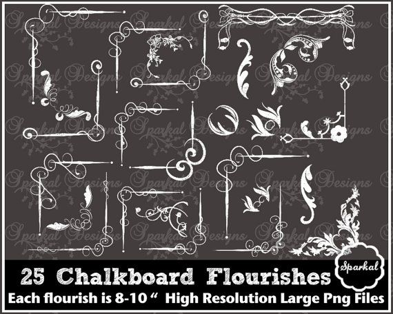 Chalkboard Corner Frames Flourishes By