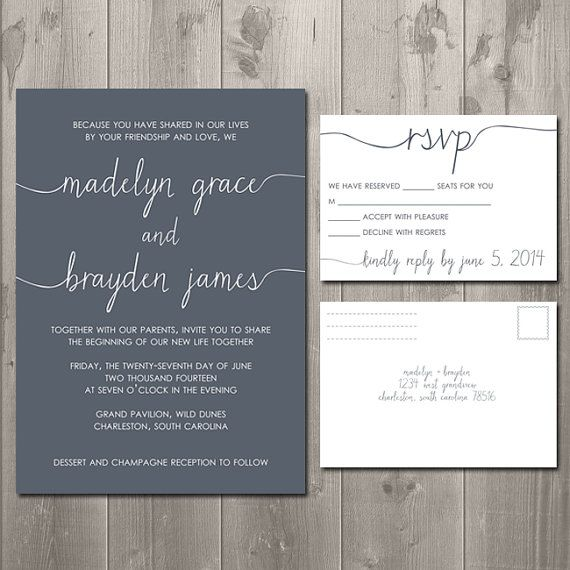 Wedding Invitations And Rsvp Cards All In One – Wedding Invitations with Rsvp Cards