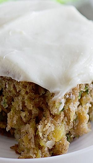 Pineapple Zucchini Sheet Cake with Cream Cheese Frosting Recipe ~ moist and addictive… It is topped off