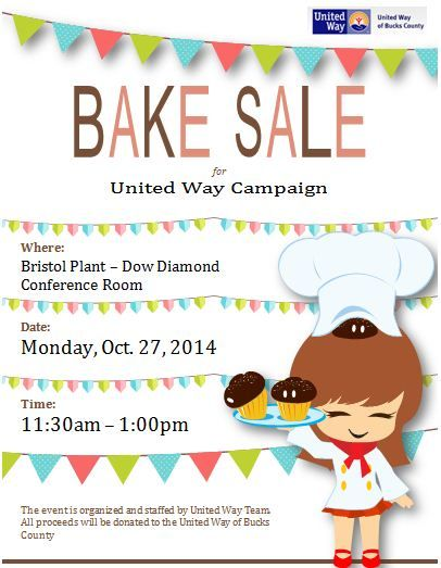 Fundraising Bake Sale Flyer For United Way Cards