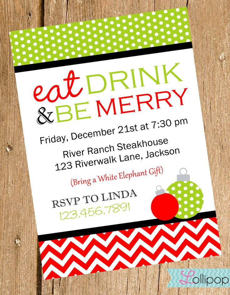 Eat Drink and Be Merry Christmas Invitation, Printable