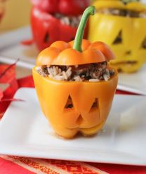 Halloween Stuffed Peppers! Healthy, kid-friendly, and basically the best idea ever.: