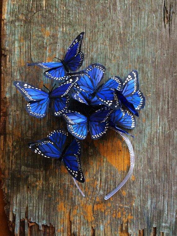 Royal Blue Monarch Butterfly Fascinator Fashion For
