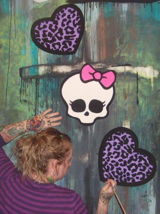 Monster High Room Ideas Hand Painted Wallpaper Murals By Me Roxanne Allmuralshandpainted On Etsy