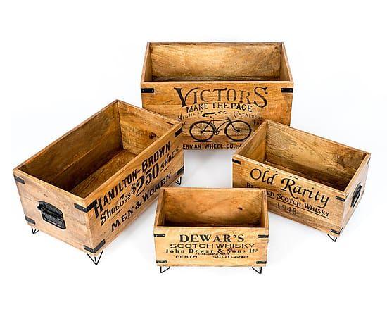 Set De 4 Cajas En Madera De Mango Old Proyecto Cestas