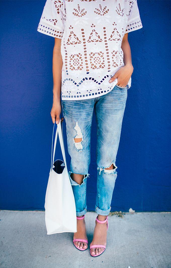 Laser cut + pink strappy heel.