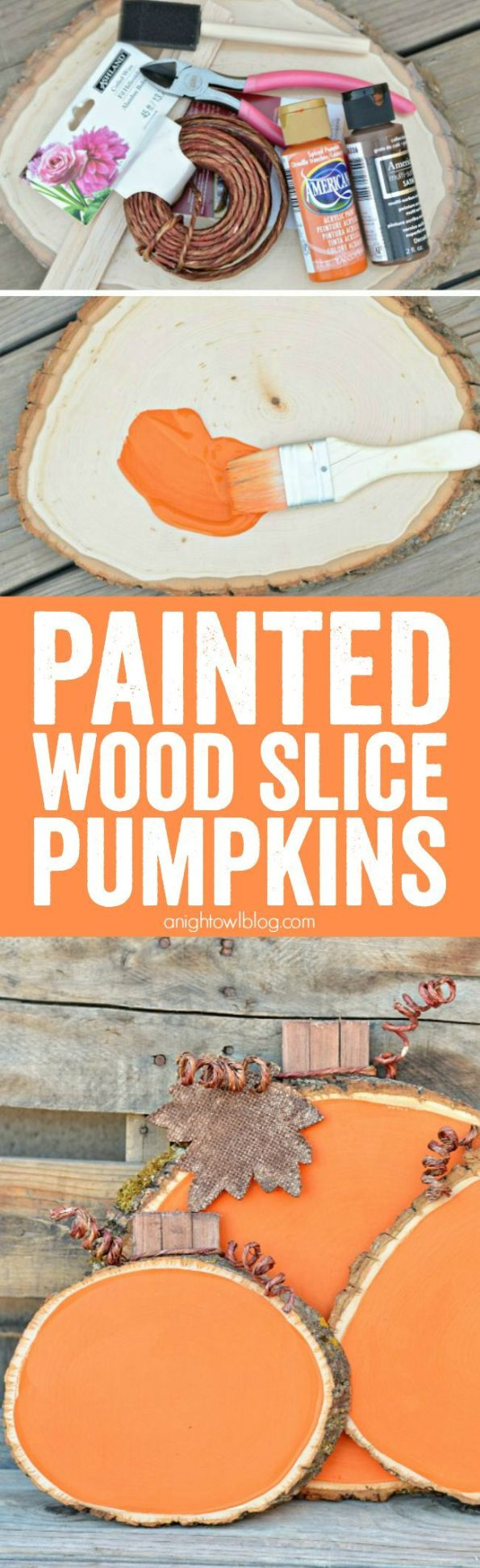 Add some color and whimsy to your Fall Decor with these easy and adorable Painted Wood Slice Pumpkins. #falldecor #pumpkin: