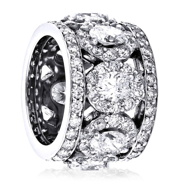 Anniversary Rings Unique 18K Gold Designer Wide Diamond
