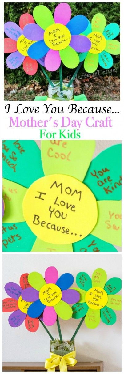 I Love You Because Mothers Day Craft Flowers, an Easy Mother's Day Craft for kids to show how much they lo