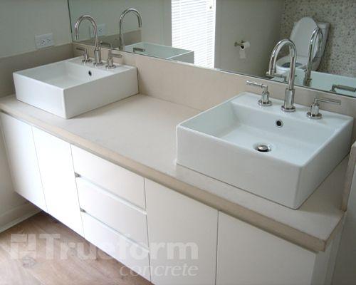 Concrete Countertop With Square Vessel Sinks