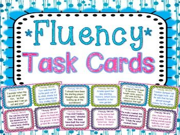 Fluency Task Cards { Short stories for Oral Fluency Reading Practice } 32 Fluency Task Cards with varied sentence types to help