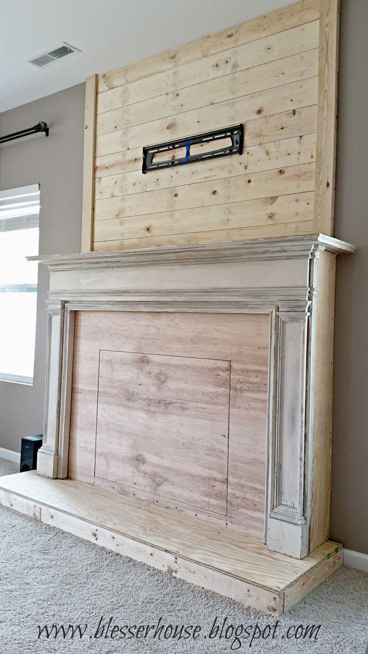 Faux fireplace, Planks and We on Pinterest