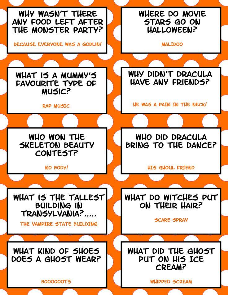 Halloween Jokes Free Printable Fall foods & fun