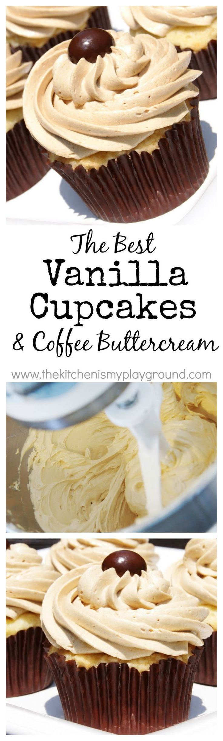 The BEST Vanilla Cupcake & the BEST Coffee Buttercream Frosting.  Yum! www.thekitc