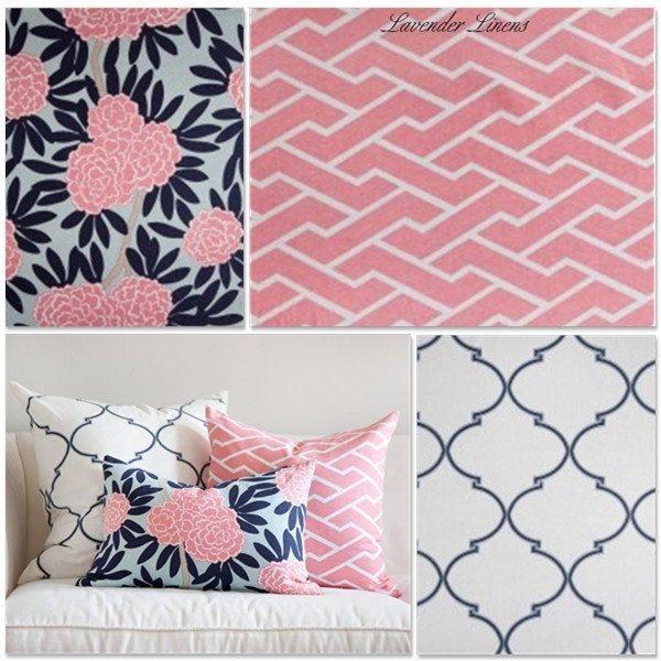 Nursery Color Inspiration – Caitlyn Wilson fabric – Navy, Pink, and Beige on Light Aqua
