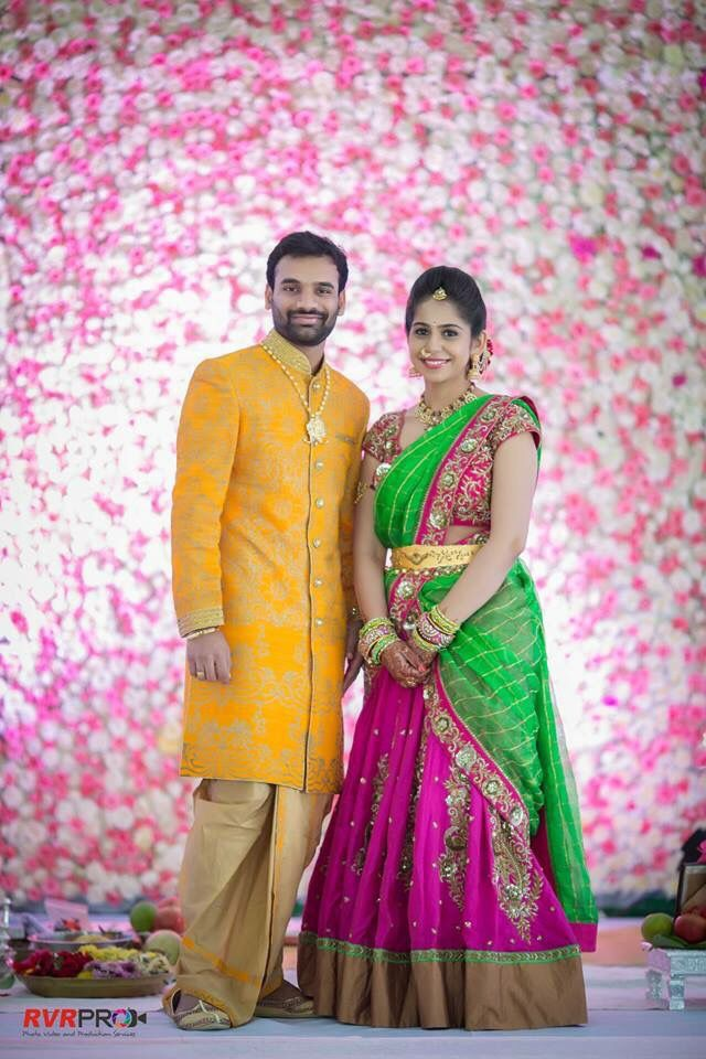 Lovely Telugu bride and groom .Bridal Lehenga heavy blouse