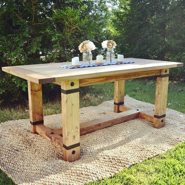 Rustic Industrial Farmhouse Table modified Shanty2Chic