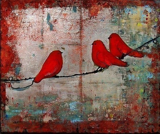 Art Print Signed 8X10 Red Birds on a Wire by blendastudio on Etsy, $20.00