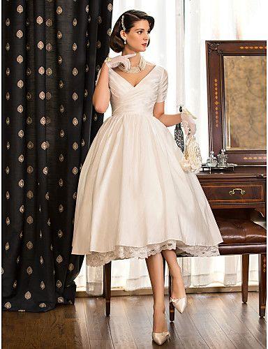 A-line Princess V-neck Tea-length Taffeta Wedding Dress
