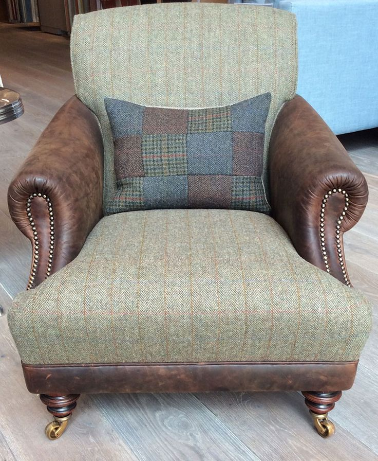 The Huntsman chair in Old Bard Leather & Harris Tweed