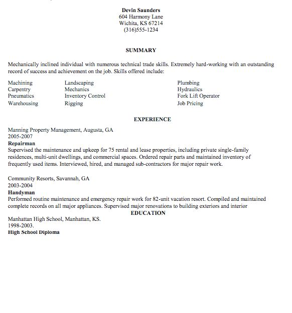Handyman Resume Examples Samples Maintenance Sample
