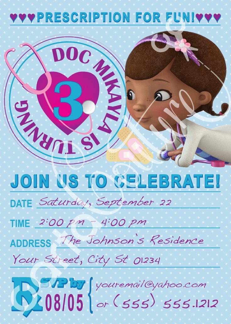 Doc McStuffins Prescription DIY Printable Invitation And