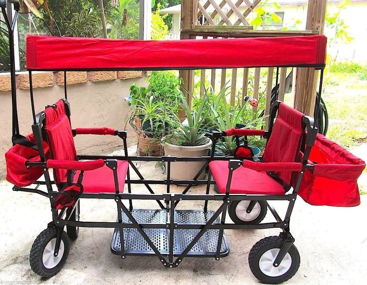 Double Seat 2Seater Folding Red Wagon with Canopy 900141